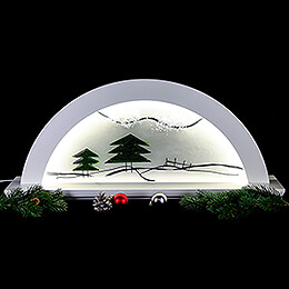 Candle Arch - Erle Weiss with Glas and Green Fir Tree - 79x14x35 cm / 31x5.5x14 inch