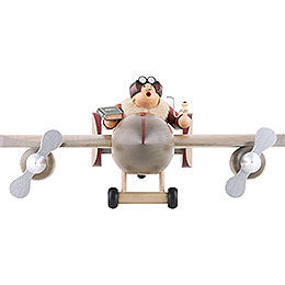 Smoker - Airplane with Pilot - Edge Stool - 20x40 cm / 8x16 inch