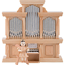 Angel Short Skirt Natural, at the Organ with Music Box - 15,5x15 cm / 5.9x6.1 inch