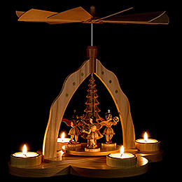 1-stöckige Pyramide mit drei Engeln, natur mit Teelichthalter - 28x27x30 cm