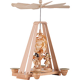 1-Tier Pyramid - Wood Chip Tree and Three Angels - 22x16x27 cm / 8.7x6.3x10.6 inch