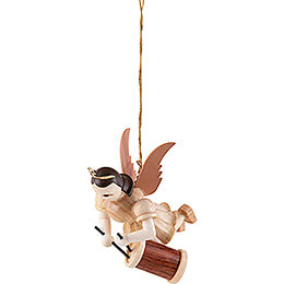 Floating Angel with Long Drum - Natural - 6,6 cm / 2.6 inch