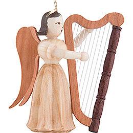 Langfaltenrockengel mit Harfe, natur - 6,6 cm