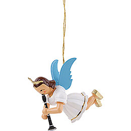Floating Angel with Clarinet, Colored - 6,6 cm / 2.6 inch