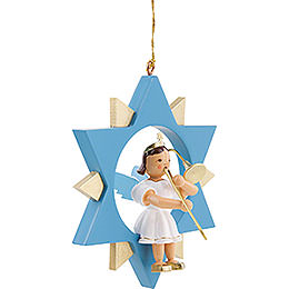 Angel with Slide Trombone in Star, Colored - 9 cm / 3.5 inch
