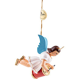 Floating Angel with Long Drum - Colored - 6,6 cm / 2.6 inch