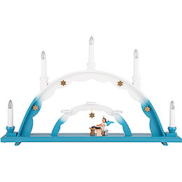 Candle Arch - Angel at Zither and Electric Lights - 55x32 cm / 21.7x12.6 inch