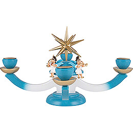 Candle Holder - Advent with Four Sitting Angels, Colored - 38x38 cm / 15x15 inch