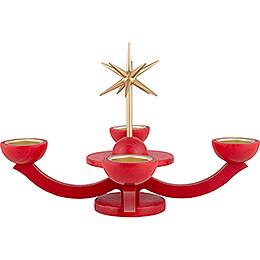 Adventsleuchter rot, mit Teelichthalter ohne Engel - 31x31 cm
