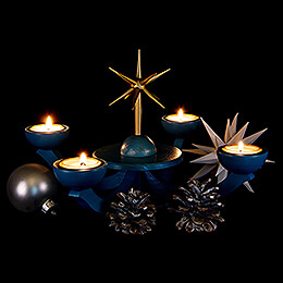Adventsleuchter blau, mit Teelichthalter ohne Engel 31x31 cm