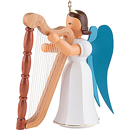 Faltenlangrockengel mit Harfe, farbig - 20 cm