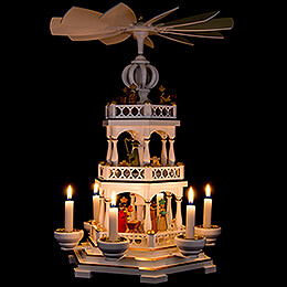 3-Tier Pyramid - Nativity - White / Gold - 44 cm / 17.3 inch