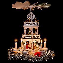 3-stöckige Pyramide Christi Geburt Jubiläumspyramide weiss-gold - 44 cm