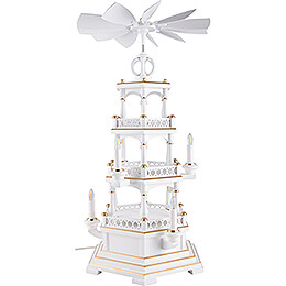 3-Tier Pyramid - without Figurines, White-Gold - 230 V Electr. Motor - 58 cm / 22.8 inch