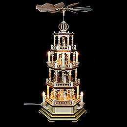 4-Tier Pyramid - The Christmas Story - 70 cm / 28 inch - 120 V Electr. Motor (US-Standard)