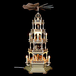 4-stöckige Pyramide Waldmotiv - elektrisch - 71 cm