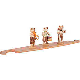 Theme Platform for Modern Light Triangle - Bears - Natural - 49x12 cm / 19.3x4.7 inch
