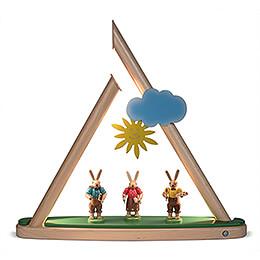 Motivplattform Hasen farbig für Moderne Lichterspitze - 49x12 cm