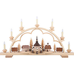 Candle Arch - Village Seiffen - 64 cm / 25 inch - 120 V Electr. (US-Standard)