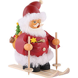 Räuchermännchen Weihnachtsmann auf Skiern - 14 cm