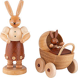 Easter Bunny Mother with Buggy - 11 cm / 4 inch