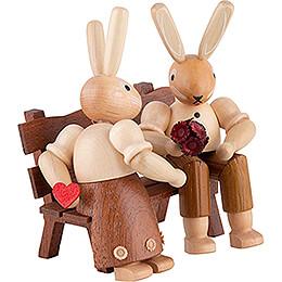 Bunny Couple Sitting - 9 cm / 3.5 inch