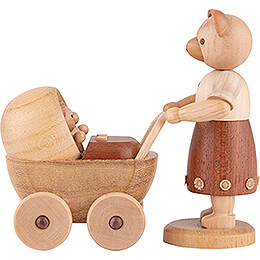 Bear Mother with Buggy - 10 cm / 4 inch