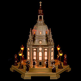 Lighted House Church of Our Lady Dresden 120 V - 24x21x28 cm / 9.4x8.3x11 inch