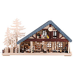 Lighted House Carpentry - 70x38x8 cm / 28x15x3 inch