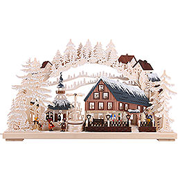 Candle Arch - Pyramid House with White Frost and Turning Pyramid - 72x43 cm / 28x17 inch