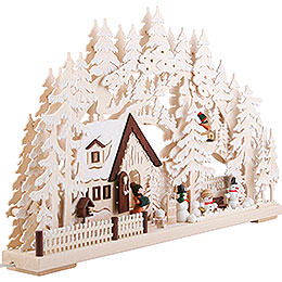 3D Candle Arch - Winter Scenery with White Frost. Electr. Candles - 62x39 cm / 24.41inchx15.35 inch