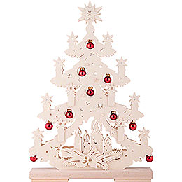 Light Triangle - Fir Tree with Red Christmas Balls - 32x44 cm / 12.6x17.3 inch