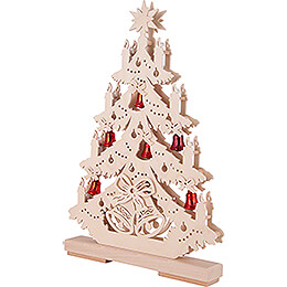 Light Triangle - Fir Tree with red Bells - 32x44 cm / 12.6x17.3 inch