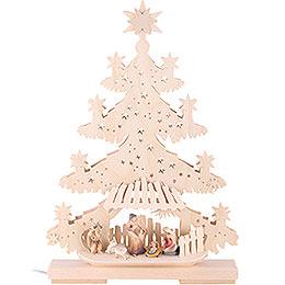 Light Triangle - Fir Tree with Nativity Scene - 32x44x7 cm / 13x17x8 inch
