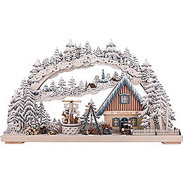 3D Double Arch - Workshop with Turning Christmas Pyramid and White Frost 72x43 cm / 28x17 inch