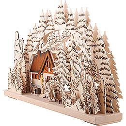 Schwibbogen Berghütte handgemalt braun - 62x39 cm