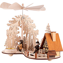 1-Tier Pyramid - Glade with Smoking House and Forest People - 24 cm / 9.4 inch
