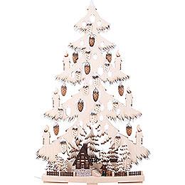 Lichterspitze Tannenbaum mit Waldhütte und Raureif - 44x67x9 cm