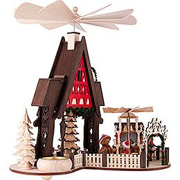 1-stöckige Hauspyramide Fachwerkhaus-Weihnachtsmarkt - 30 cm