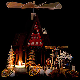 1-Tier Pyramid House - Half Timber House Christmas Market - 30 cm / 11.8 inch
