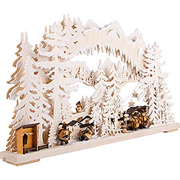 3D Double Arch - Ski Station with White Frost - 72x43 cm / 28x17 inch