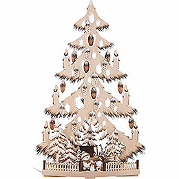 Light Triangle - Fir Tree with Cones, Snow Balls and White Frost - 38x72 cm / 15x28.3nch