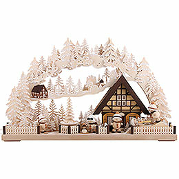 Candle Arch - Snowmolli-Country with Pyramid and White Frost - 72x43 cm / 28.3x17 inch