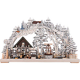3D Double Arch - Handicrafts from the Ore Mountains with White Frost - 72x43 cm / 28x17 inch