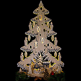 Light Triangle - Fir Tree at the Half Timbered House with White Frost - 38x72 cm / 15x28.3 inch