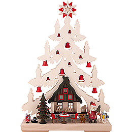 Light Triangle - Fir Tree - Christmas Eve with red Bells - 32x44 cm / 12.6x17.3 inch
