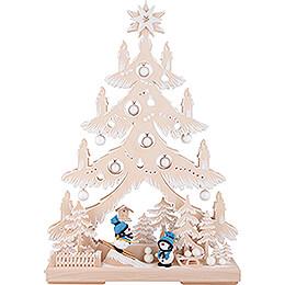Light Triangle - Fir Tree - Snowmen with White Frost - 32x44 cm / 12.6x17.3 inch