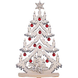 Light Triangle - Fir Tree with Red/Grey Christmas Balls and White Frost - 72x38 cm / 28x15 inch