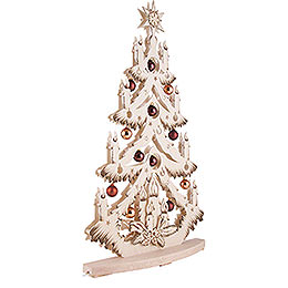 Light Triangle - Fir Tree with Copper/Golden Christmas Balls - 72x38 cm / 28x15 inch