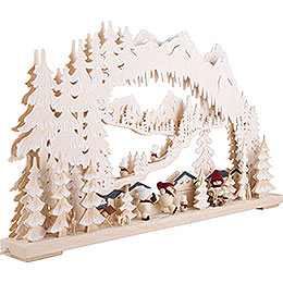 3D Double Arch - Wintersport with Snowmollis and White Frost - 72x43 cm / 28x17 inch